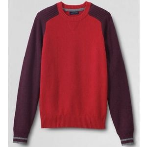 Lands End Mens Lambswool Crewneck Sweater Cinnabar